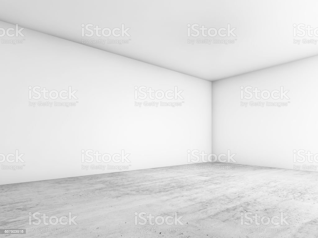 Abstract empty interior background, white walls stock photo