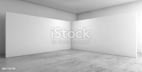 Abstract empty interior, corner of white installation on concrete floor, contemporary architecture design. 3d render illustration