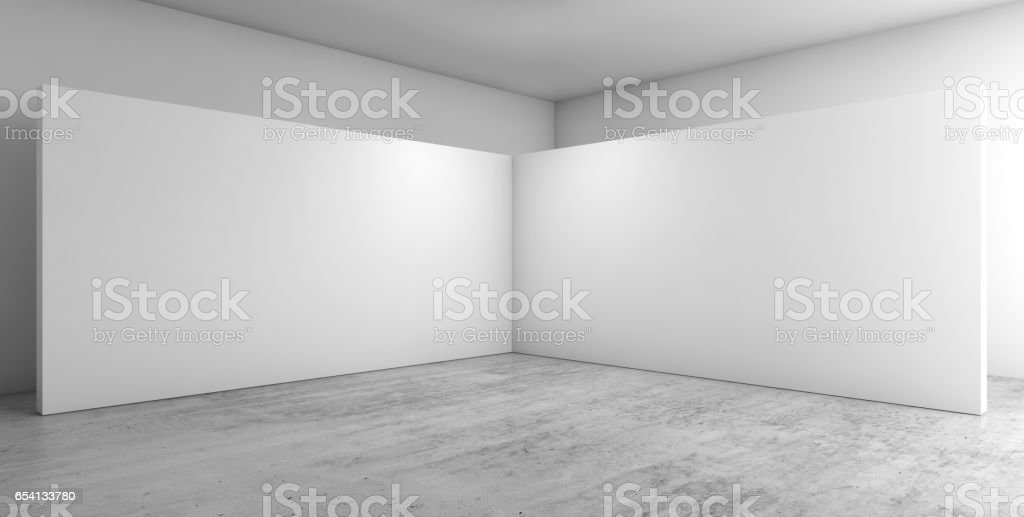 Abstract empty interior, corner 3d stock photo