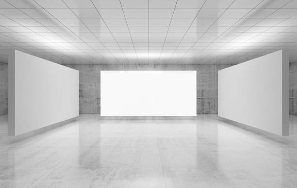 Abstract empty interior, three white posters stock photo