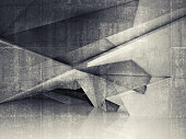 Abstract empty interior with polygonal structure