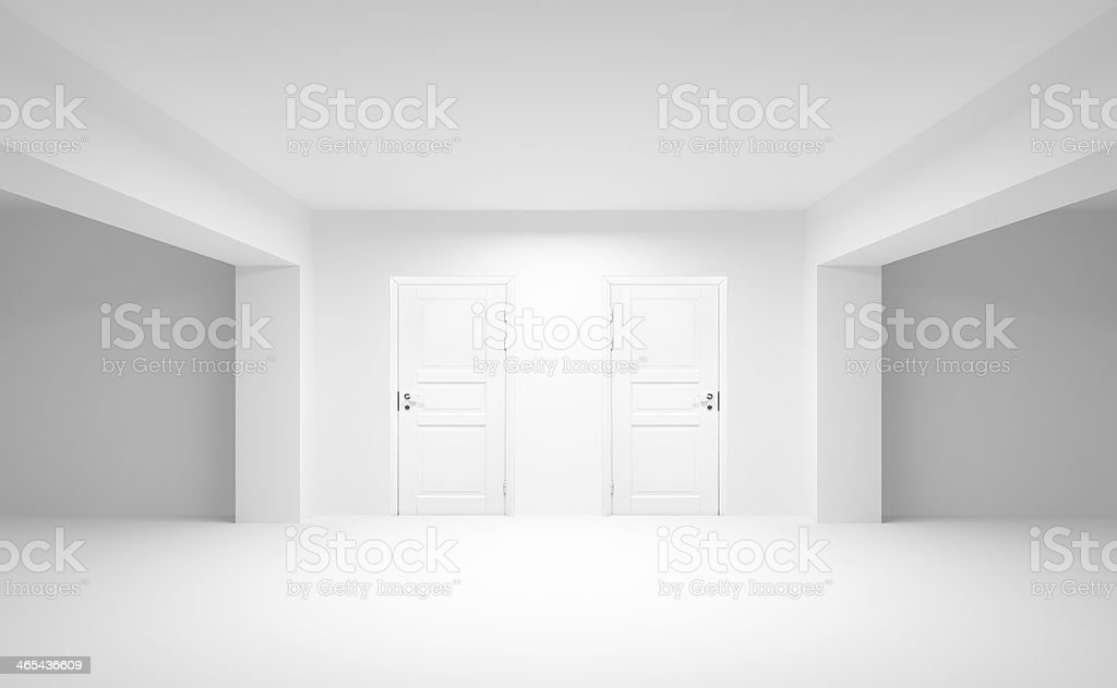 Abstract empty interior with two white doors. 3d illustration stock photo