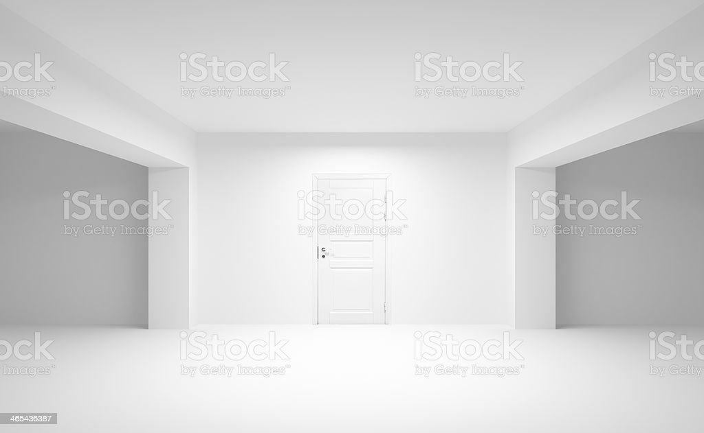 Abstract empty interior with white door. 3d illustration stock photo