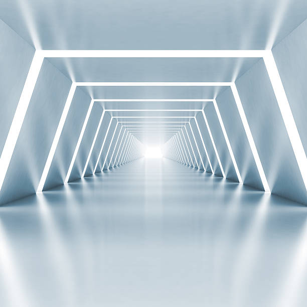 Fundo vazio luz azul brilhante corredor interior - foto de acervo