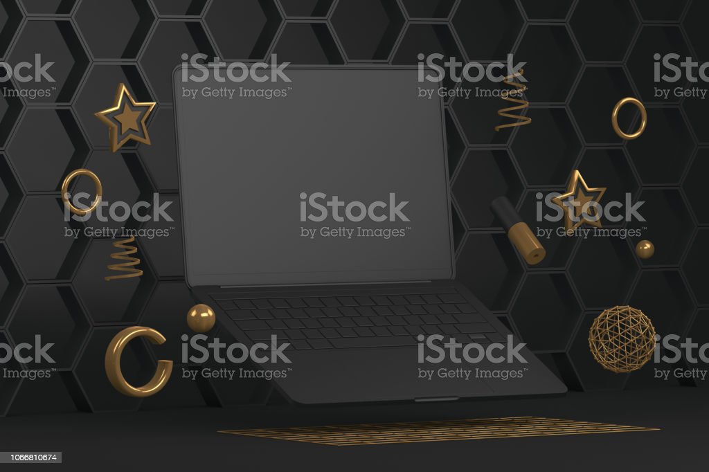 Abstract Empty Notebook Screen with Geometric Shapes, Minimal Design Concept royalty-free stock photo