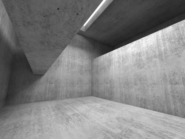 Abstract empty room background,  gray concrete 3d stock photo
