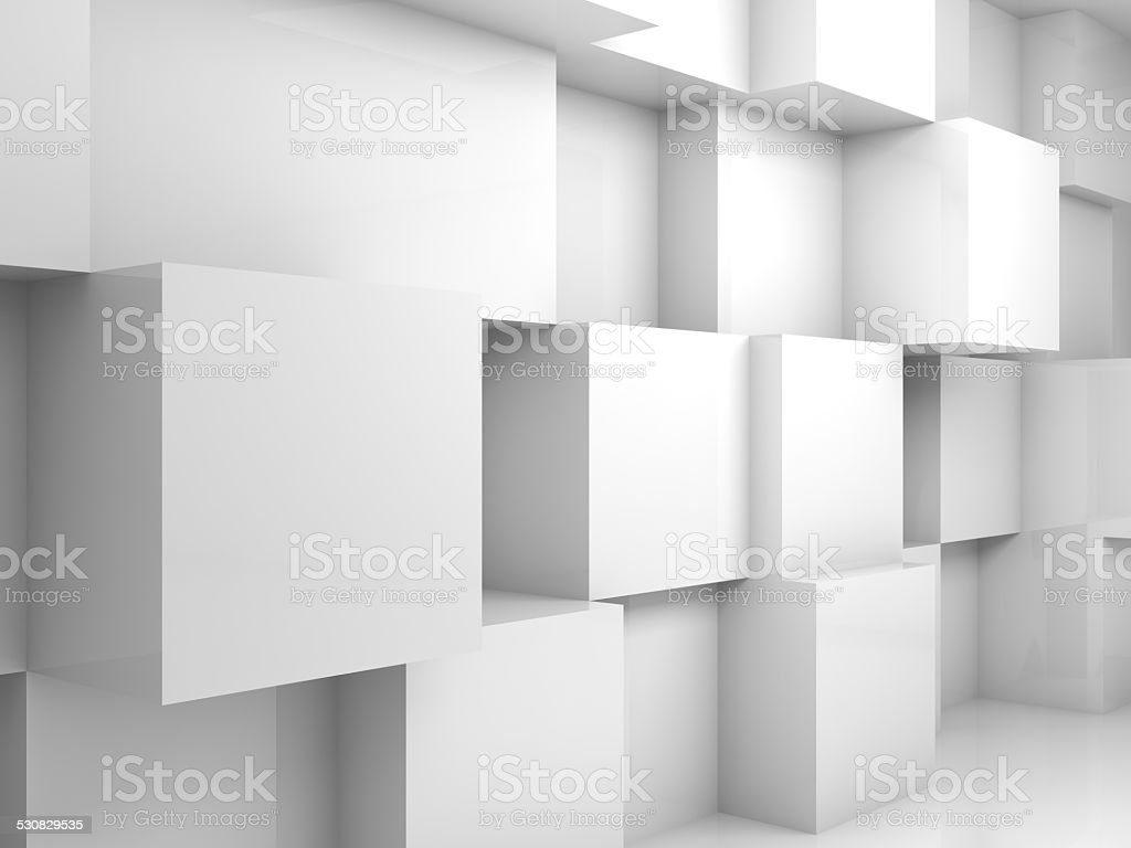 Abstract empty white 3d interior with cubes on wall stock photo