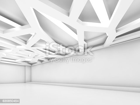 istock Abstract empty white interior 3 d render 635850454