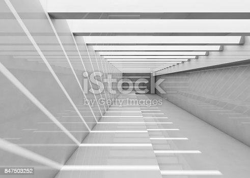 Abstract empty white interior. Corridor with ceiling illumination and striped pattern of light beams, Background 3d illustration