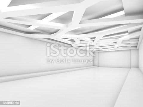 istock Abstract empty white interior render 635889256