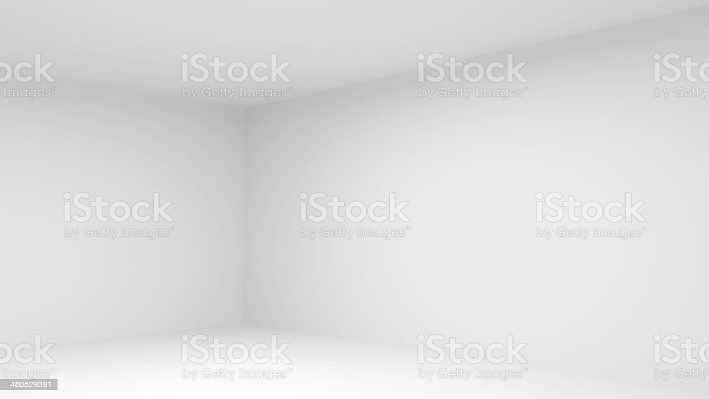 Abstract empty white room interior. 3d render illustration stock photo