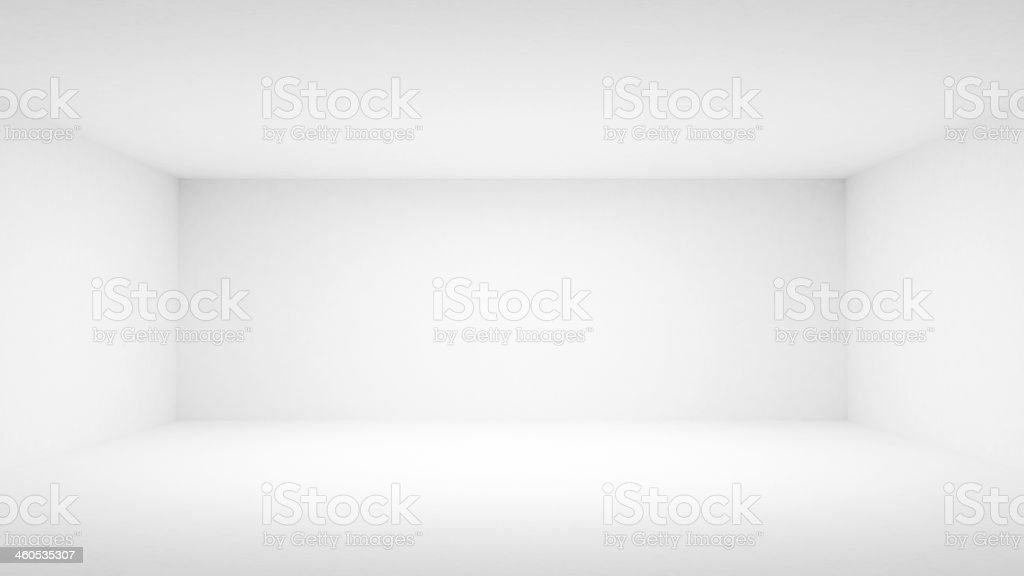 Abstract empty white room interior. Front view, 3d illustration stock photo