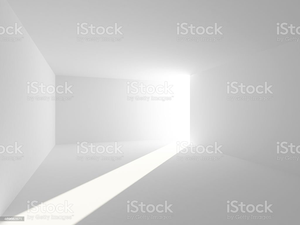 Abstract empty white room interior with light beam stock photo