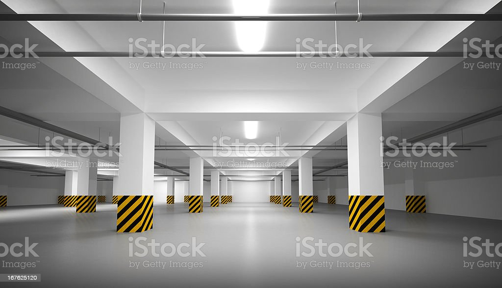 Abstract empty white underground parking interior stock photo