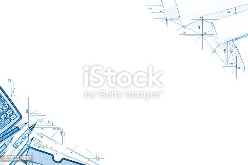 istock Abstract engineering drawings background with blank for your word. Construction plan tools with empty space on desk. 825031682