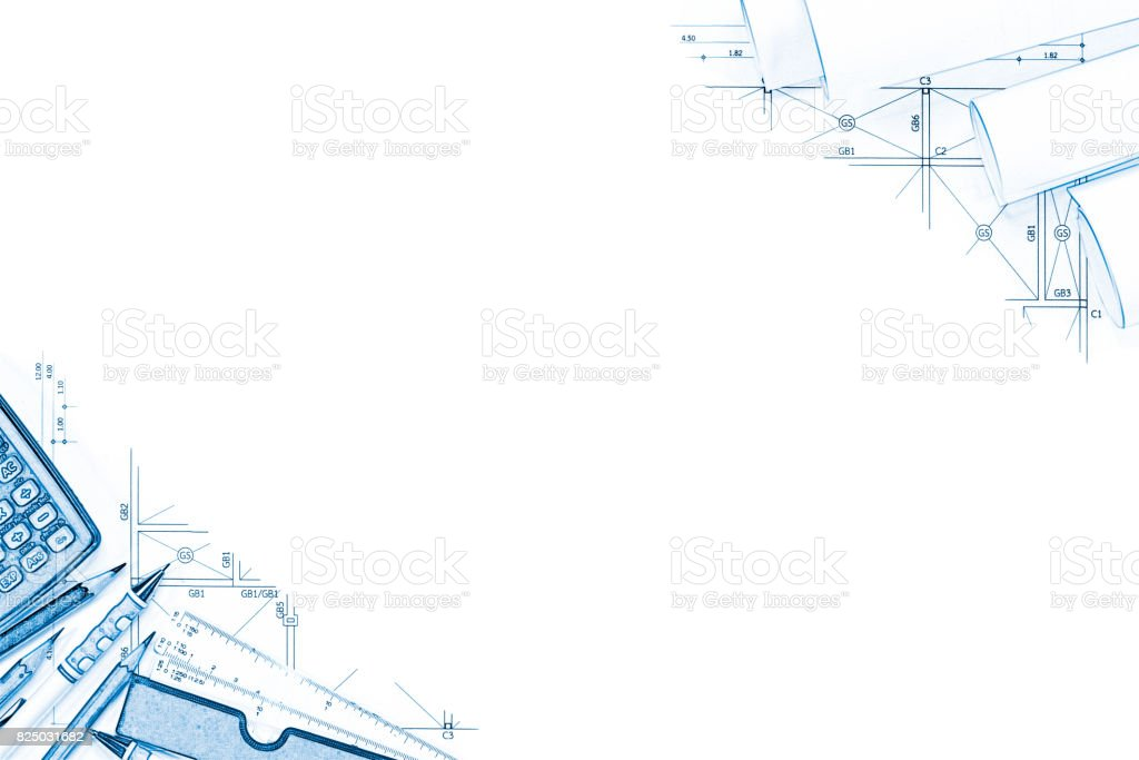 Abstract engineering drawings background with blank for your word. Construction plan tools with empty space on desk. stock photo