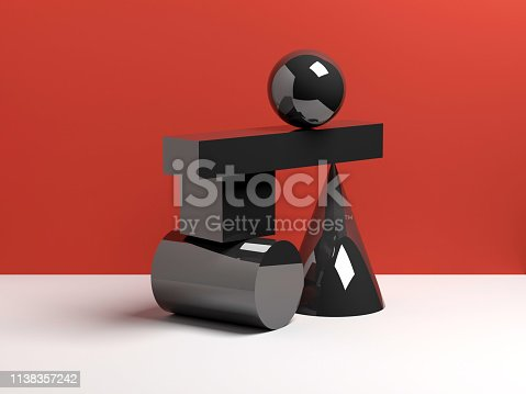 950775710 istock photo Abstract equilibrium concept, black shapes 1138357242