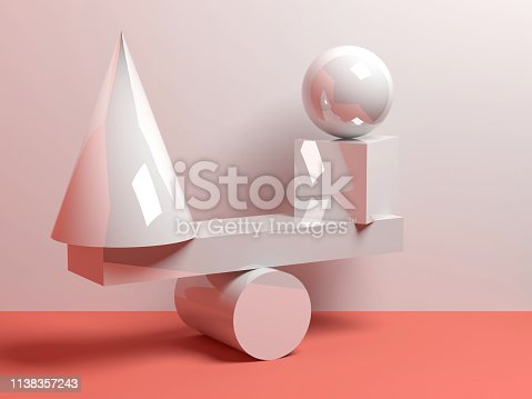 950775710 istock photo Abstract equilibrium installation, 3 d 1138357243
