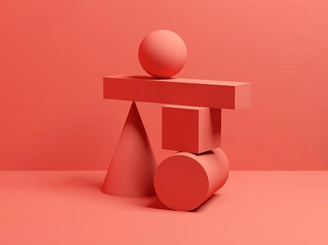 Abstract equilibrium red digital still life 3 d