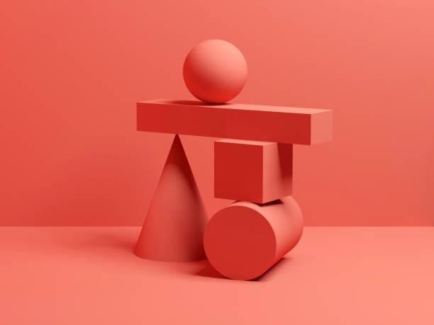 abstraktes gleichgewicht rot digitales stillleben 3 d - gleichgewicht stock-fotos und bilder