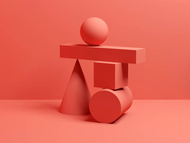 Abstract equilibrium red digital still life 3 d Abstract equilibrium red digital still life installation with primitive geometric shapes. 3d render illustration balance stock pictures, royalty-free photos & images