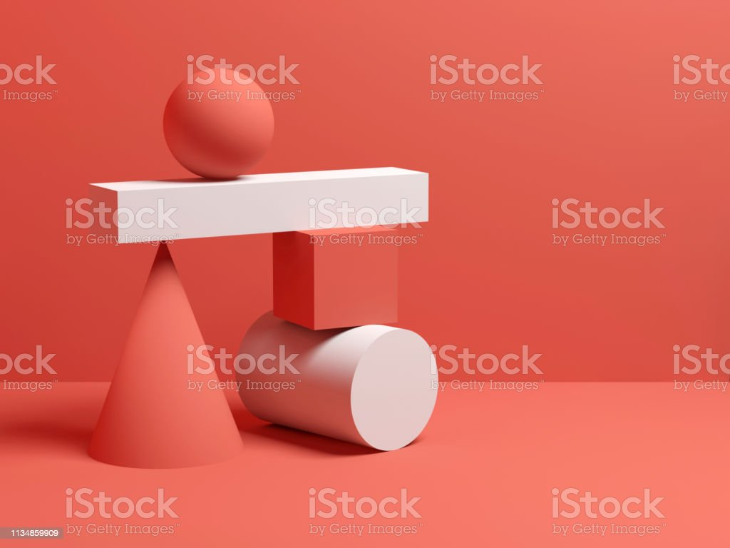 Abstract evenwicht stilleven installatie 3D - Royalty-free Abstract Stockfoto