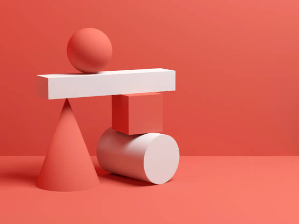 Abstract equilibrium still life installation 3d Abstract equilibrium still life installation with red and white primitive geometric shapes. 3d render illustration still life stock pictures, royalty-free photos & images