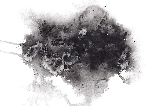 Abstract expressive textured black ink or watercolor stain. Mysterious dynamic isolated inky blob, dark thunderous cloud concept for texture, black friday banner design