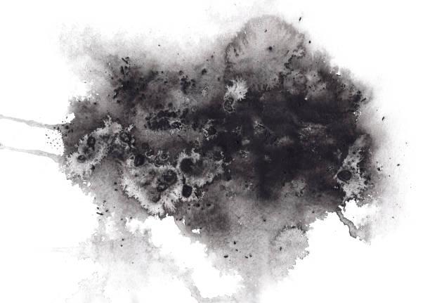 추상 표현 블랙 수채화 얼룩 - 모양 뉴스 사진 이미지