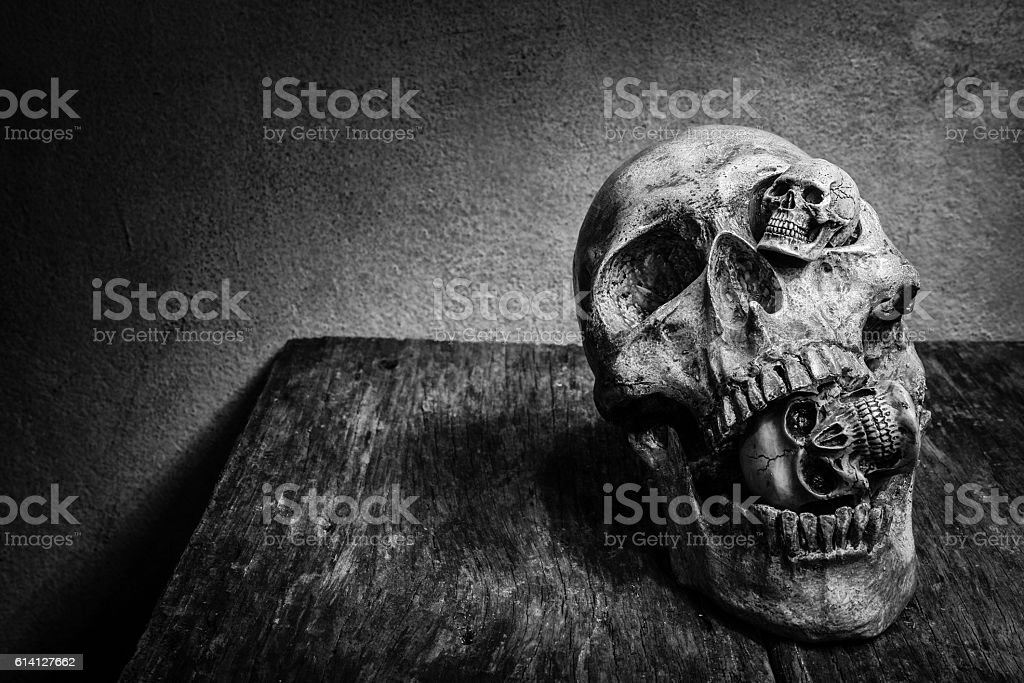 Abstract face of skull. stock photo