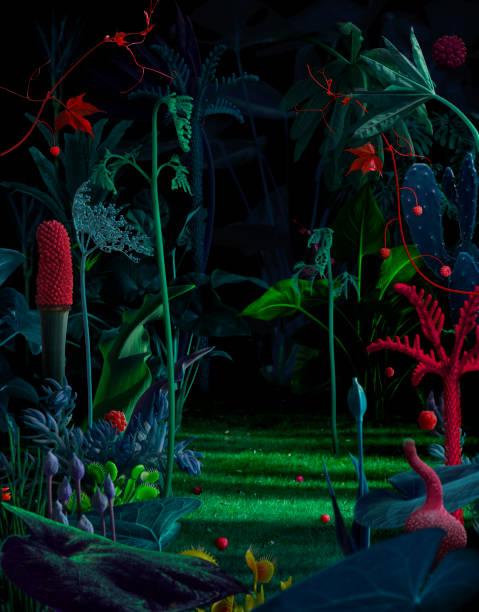 abstrakt fantasy natur hintergrund - kollagenblätter stock-fotos und bilder
