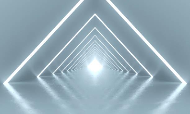 abstract mode achtergrond, gloeiende lijnen, tunnel, virtual reality. 3d-rendering - boog architectonisch element stockfoto's en -beelden