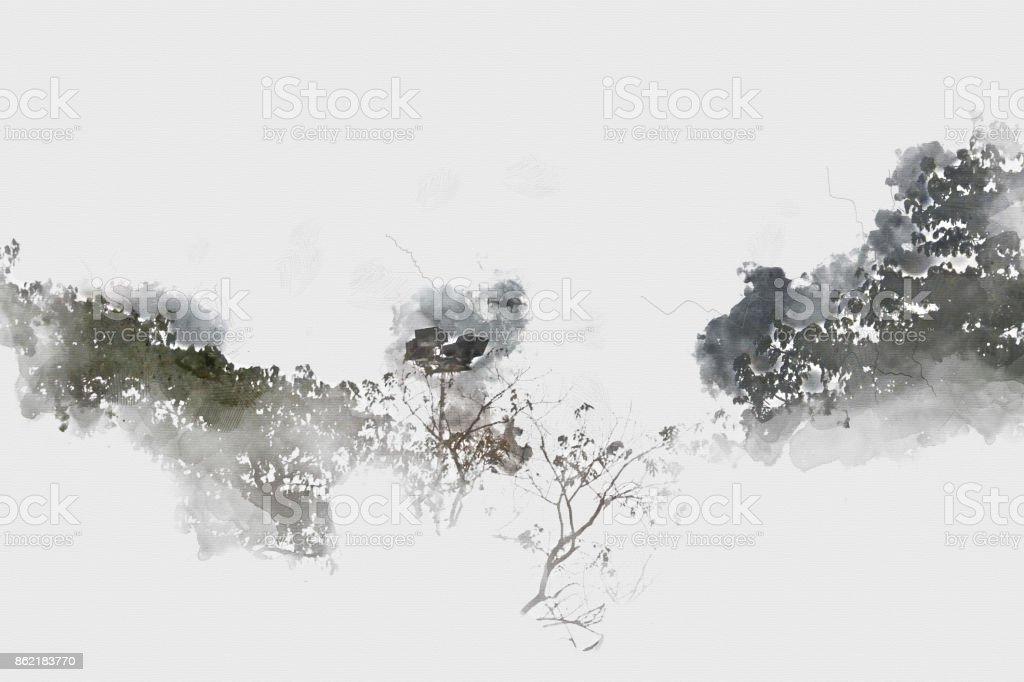 Abstract  Field landscape and tree landscape on watercolor background, digital watercolor painting stock photo
