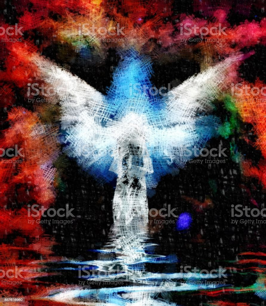 Abstract figure and wings stock photo