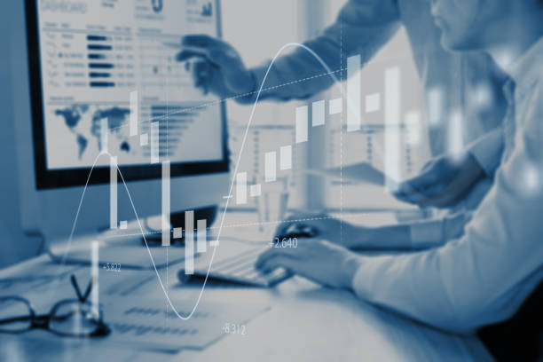 Abstract finance concept, people discussing financial data, stock market chart Abstract finance concept with people discussing financial data on a business analytics dashboard on computer screen in background and stock market investment chart in foreground financial report stock pictures, royalty-free photos & images