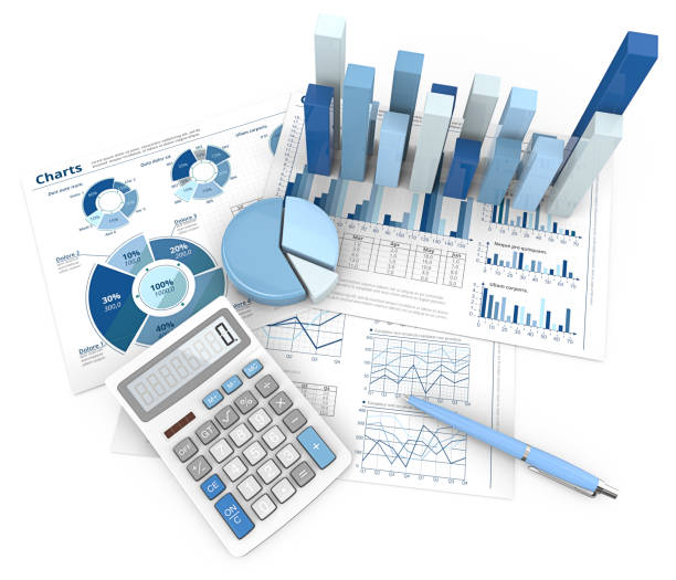 Abstract Finance Workplace. 3d Illustration of Financial documents 3D graphs and pie charts. Pen and Calculator. Top view. Blue theme. market research stock pictures, royalty-free photos & images