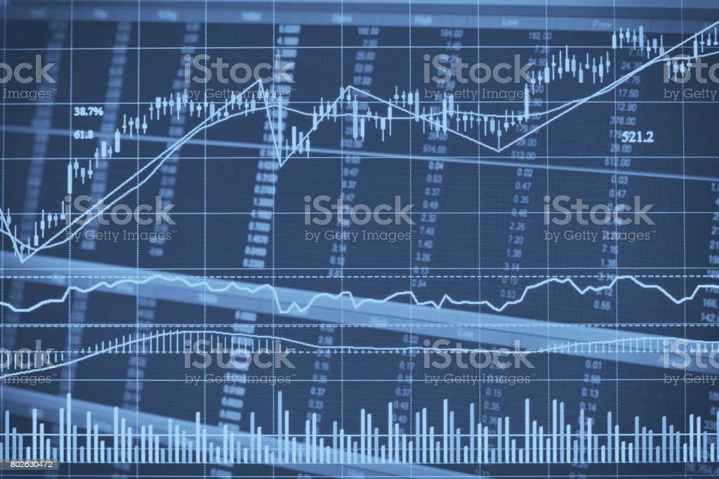 Abstract financial candlestick chart with line graph and stock numbers in Double exposure style background stock photo