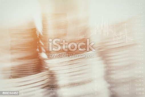 istock Abstract financial chart with graph and stack of coins in Double exposure style background 859244452
