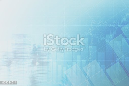 istock Abstract financial chart with graph and stack of coins in Double exposure style background 859244514