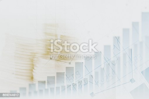 istock Abstract financial chart with graph and stack of coins in Double exposure style background 859244612