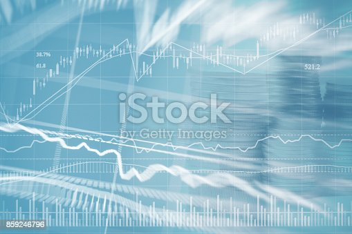 istock Abstract financial chart with graph and stack of coins in Double exposure style background 859246796