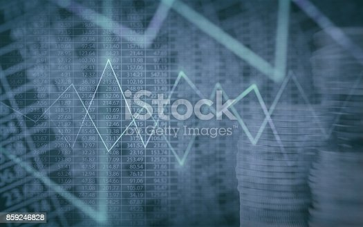 istock Abstract financial chart with graph and stack of coins in Double exposure style background 859246828