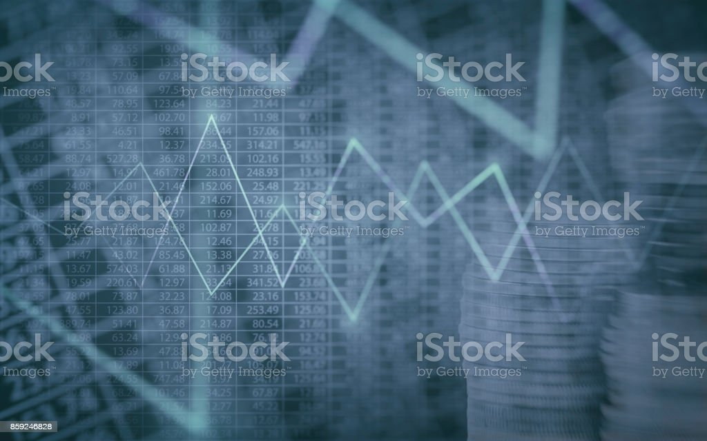 Abstract financial chart with graph and stack of coins in Double exposure style background stock photo