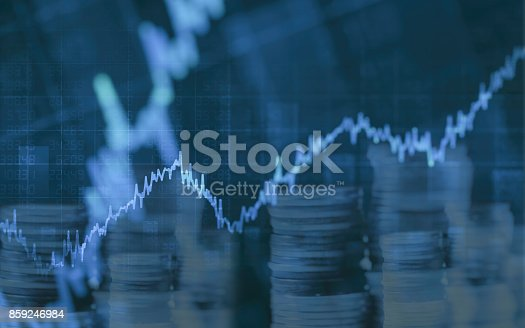 istock Abstract financial chart with graph and stack of coins in Double exposure style background 859246984