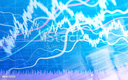 istock Abstract financial chart with graph and stack of coins in Double exposure style background 863470252