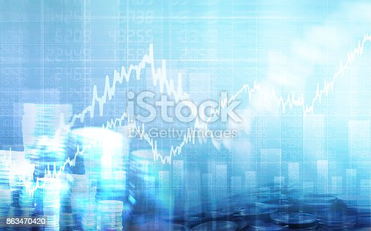istock Abstract financial chart with graph and stack of coins in Double exposure style background 863470420