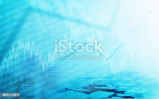 istock Abstract financial chart with graph and stack of coins in Double exposure style background 863472624