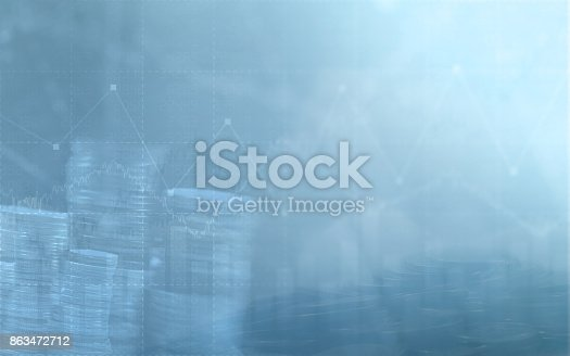 istock Abstract financial chart with graph and stack of coins in Double exposure style background 863472712