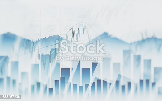 istock Abstract financial chart with graph in Double exposure style on white color background 863467238