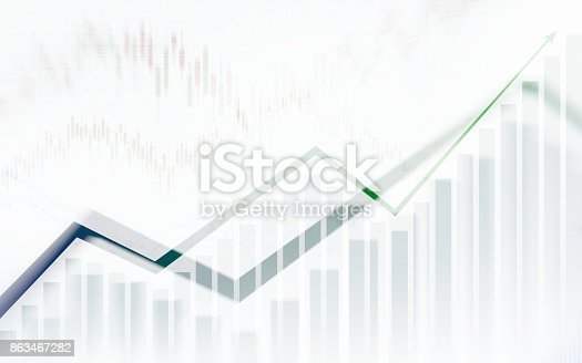 istock Abstract financial chart with graph in Double exposure style on white color background 863467282